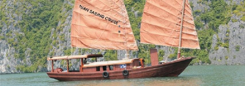 Jonque Catba Tuan sailing 1 cabine